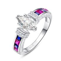 Zetaur 925 Sterling Silver Created Rainbow Topaz Marquise Cut CZ Pave Anniversary Engagement Wedding Ring for Women