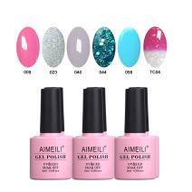 AIMEILI Soak Off UV LED Gel Nail Polish Multicolor/Mix Color/Combo Color Set Of 6pcs X 10ml - Kit Set 4