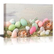"""Canvas Prints Wall Art - Easter Pastel Colored Decoration on Grass - 16"""" x 24"""""""