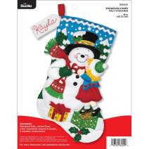 "Bucilla Felt Appliques Christmas Stocking Kit, 18"", Snowman Kisses"