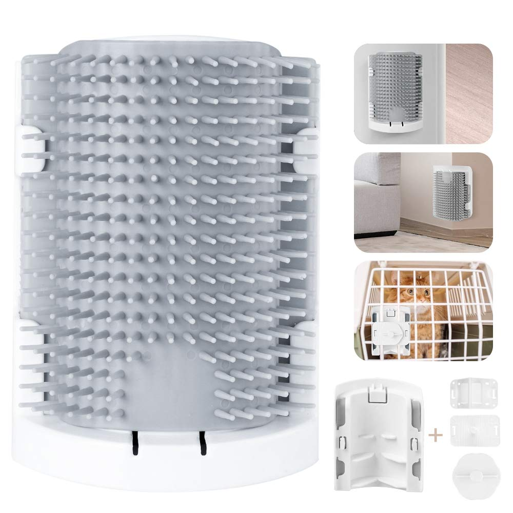 laamei Cat Self Groomer, Cat Toys Catnip, Dog Cat Wall Corner Groomer Soft Multi-Function Brush Cage 3 Installation Methods Fit for Flat Wall Corner Cage and Hand Hold Kitten Massager Tools Toy