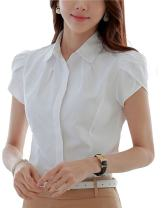 Women Cotton Collared Pleated Button Down Shirt Tulip Sleeve Blouse