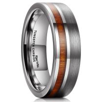 King Will Nature Tungsten Carbide Wedding Band 7mm Silver Brushed Ring with Wood Inlay Comfort Fit