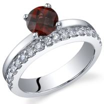 Peora Garnet Promise Ring in Sterling Silver, 1 Carat Round Shape, Comfort Fit, Sizes 5 to 9