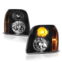 VIPMOTOZ Black Housing OE-Style Headlight Headlamp Assembly For 2007-2014 GMC Yukon XL 1500 2500, Driver & Passenger Side