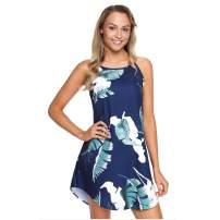 Seamido Women's Halter Neck Floral Print Sleeveless Casual Mini Dress