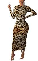 Women Sexy Long Sleeve Bodycon Midi Dress Leopard Print Pencil Club Cocktail Dresses Sundress Party Night