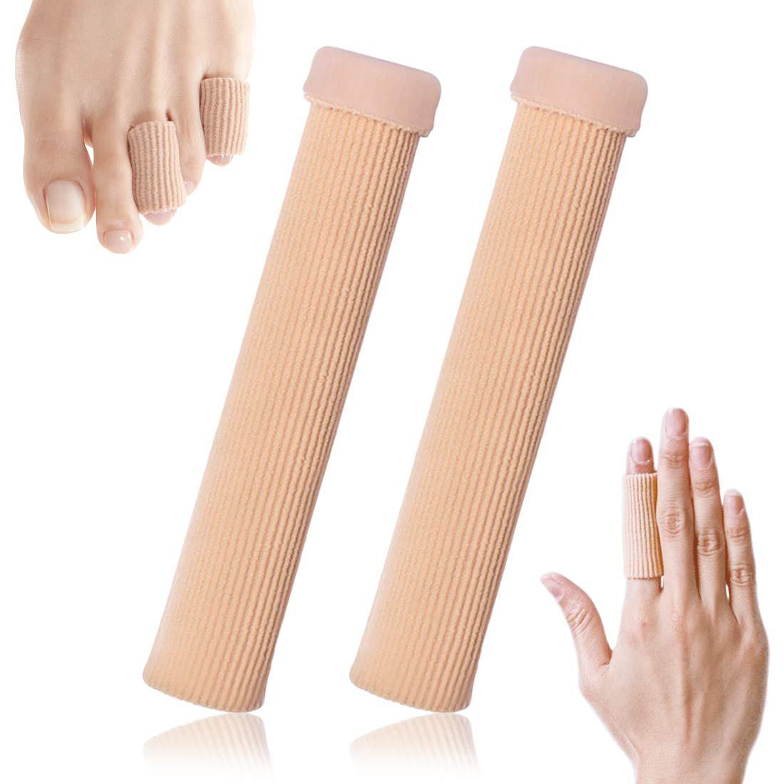 "Kalevel 2pcs Large Toe Tubes Finger Protectors Gel Corn Pad Cushions Fabric Toe Finger Sleeve Separators 5.9"" for Bunion, Hammer Toe, Callus, Corn, Blister Pain Pressure Relief (L)"