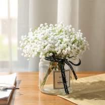 Nubry 10pcs Babys Breath Artificial Fake Flowers Bouquet Gypsophila Bulk Flower in White for Wedding Crown Home Party Garden Decoration
