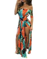 Women Sexy Maxi Romper Dresses - Floral Off Shoulder Short Jumpsuits Summer Dress High Slit Orange M