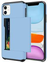SAMONPOW Wallet Case for iPhone 11 Case with Card Holder Protective Case Dual Layer Shockproof Hard PC Soft Hybrid Rubber Anti Scratch Case for iPhone 11 6.1 inch (Light Blue)
