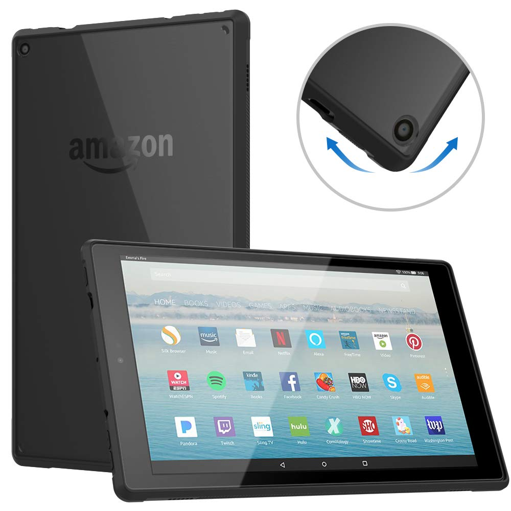 Dadanism Case Fits All-New Amazon Fire HD 10 Tablet(9th Generation - 2019 Release) / (7th Generation - 2017 Release), Soft TPU Shockproof Corner for Fire HD 10.1 Inch Cover - Black