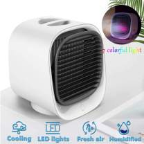 Portable Air Conditioner Fan-Personal Air Conditioner Air Cooler, 3 Speeds Evaporative Air Cooler With 7 Colors Night Light For Small Room, Home, Desk, Office, Dorm (White)