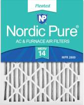 Nordic Pure 12x20x2 MERV 14 Pleated AC Furnace Air Filters 3 Pack