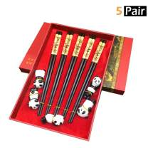 5 Pair Panda Chopsticks with Cute Holders, MHKBD Reusable Chopsticks with Engraved Panda Design Wooden Chopsticks with Case Chopsticks Gift Set, Black (Ceramic Rest)