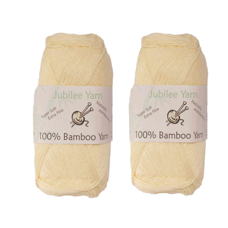 BambooMN Weight Rayon from Bamboo Fiber Yarn - Cream - 2 Skeins - 50g/Skein Brand