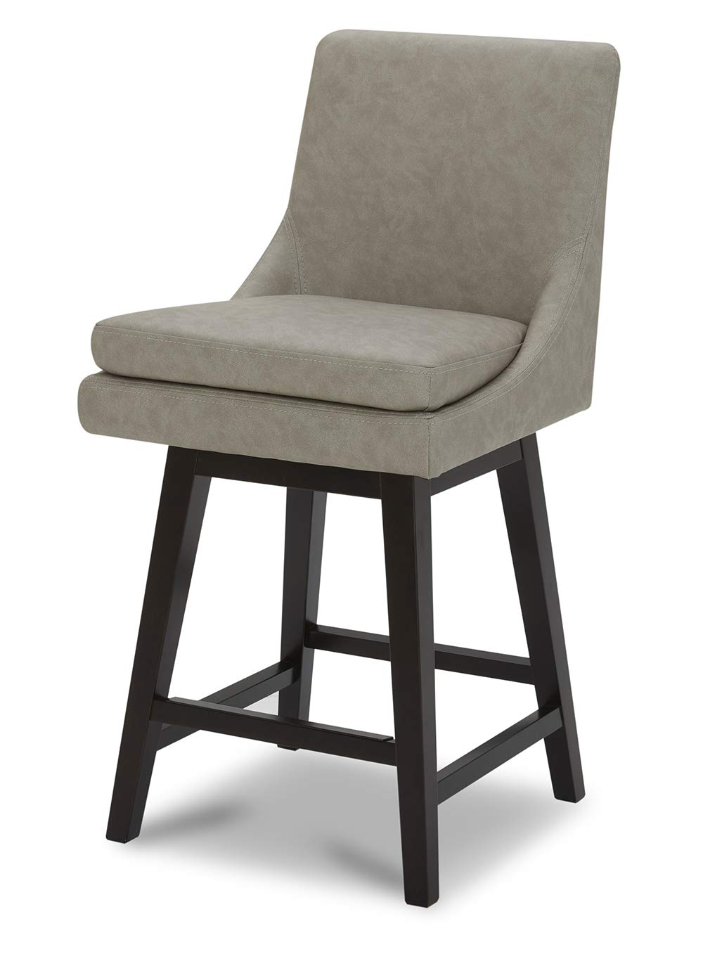 """CHITA Counter Height Swivel Barstool, Upholstered Leather Bar Stool, 26"""" H Seat Height, Stone Grey"""
