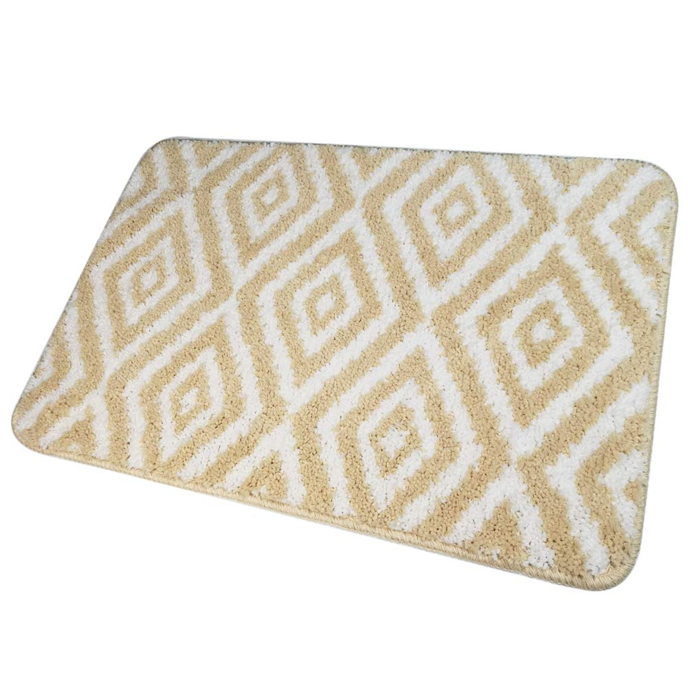 HOMEVER Small Bathroom Rugs Mats for Bathroom with Size 16 x 24 Inch,Soft Bathroom Mats and Water Absorbent Bath Mats with Non Slip TPR (Beige)