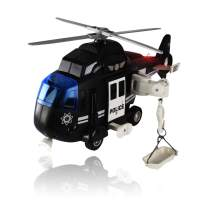 WolVolk Police Helicopter - Solid Built Push & Go Chopper Toy with Lights & Sounds - Aids Hand-Eye Coordination for Kids Boys & Girls (Black)