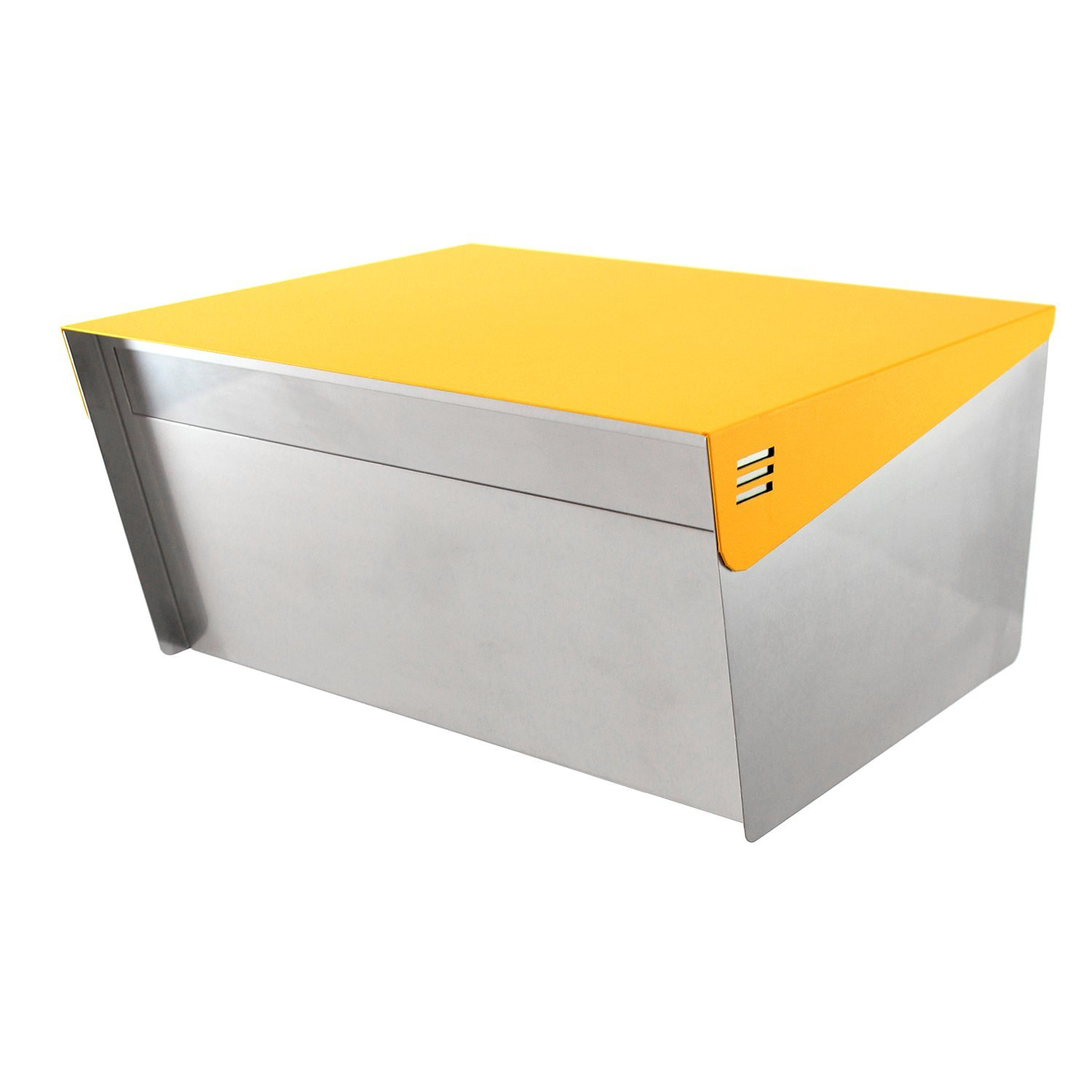 """KATANABOX Wide DR - Stainless Steel Post Mount Modern Design Mailbox with Lock and Key Extra Large Letterbox Rust Proof for Modern Home House Apartment Rural Roadside 12"""" x 15"""" x 8"""" (Yellow)"""