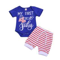 My First 4th of July Baby Boy Outfits American Flag Romper Stars and Stripes Pants Independence Day 2PCS Set