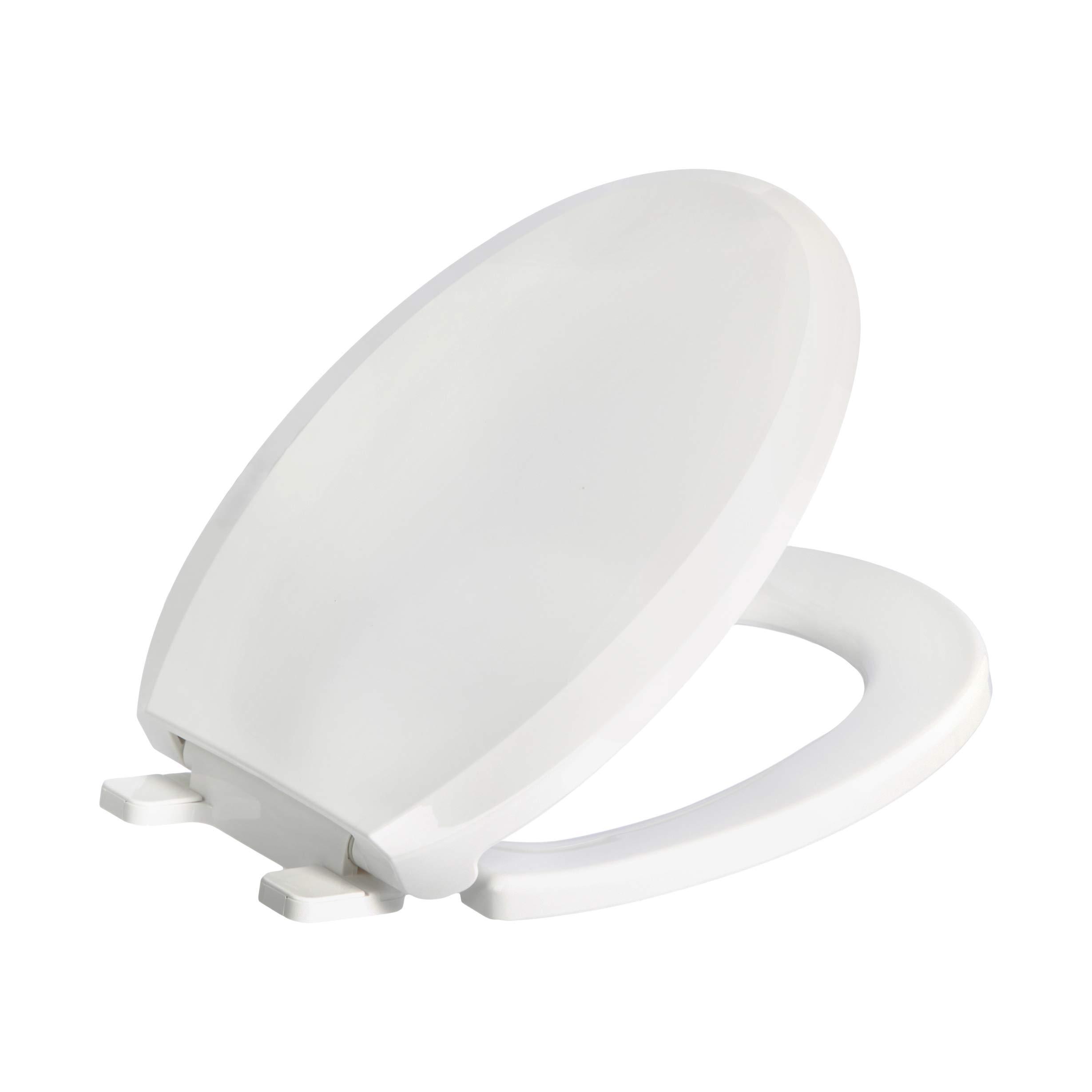 AmazonBasics AB-T101-R-W Soft-Close Toilet Seat, Round, White, 1-Pack
