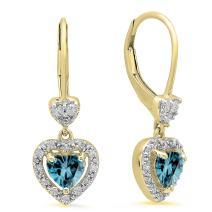 Dazzlingrock Collection 10K Ladies Heart Dangling Drop Earrings, Yellow Gold