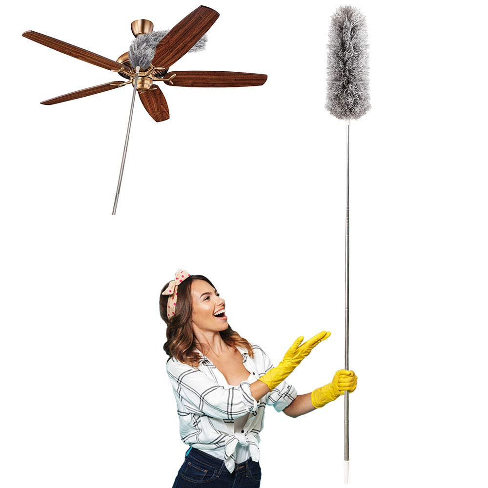 """Dusters for Cleaning Extendable,HAINANSTRY Extendable Duster Reaches Up to 100"""",Microfiber Duster for Cleaning Ceiling Fan/Keyboard/Furniture/Cobweb"""