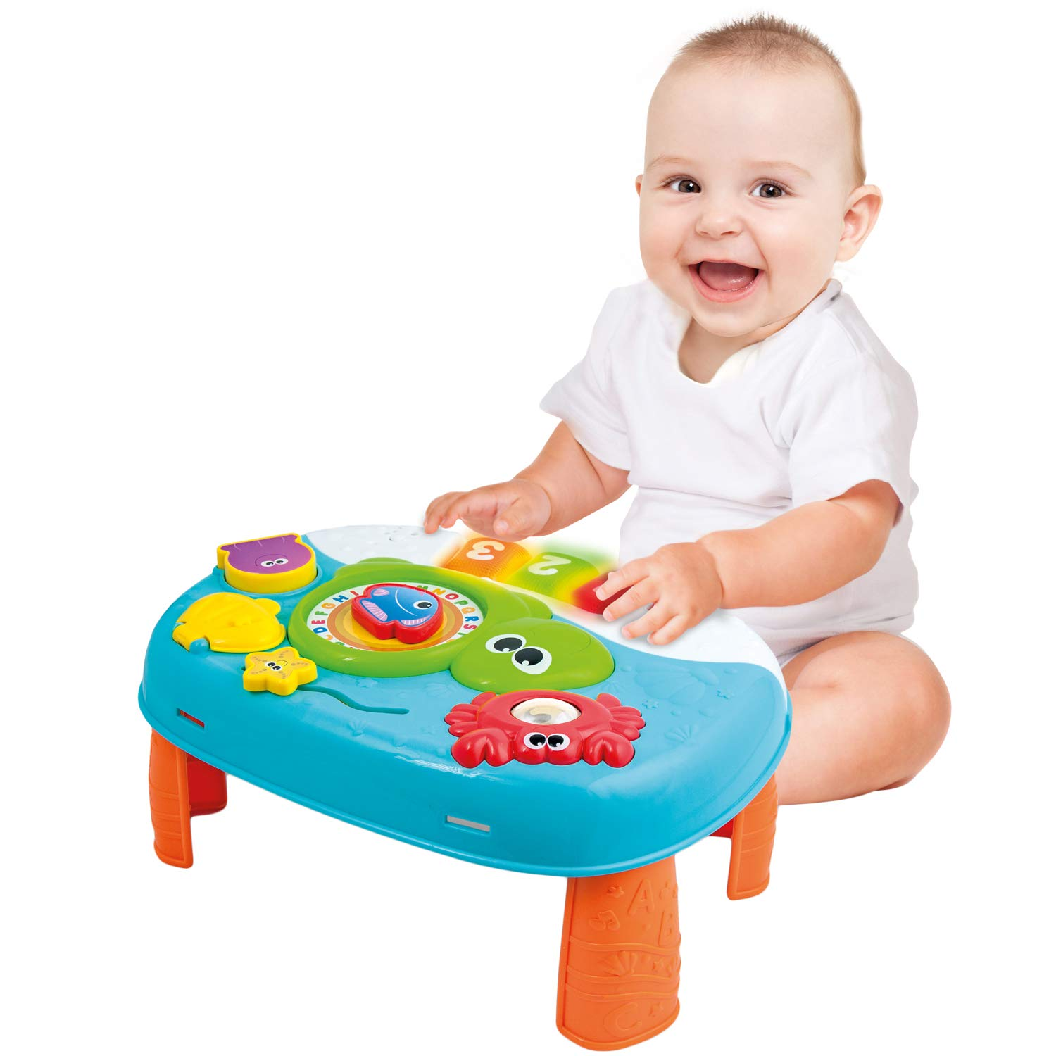Activity Table for 1 Year Old and Up. 2-in-1 Activity Center for Baby. Interactive Learning Toy Piano and Kids Activity Table with Fun Ocean Characters. Crib Accessories with Detachable Straps