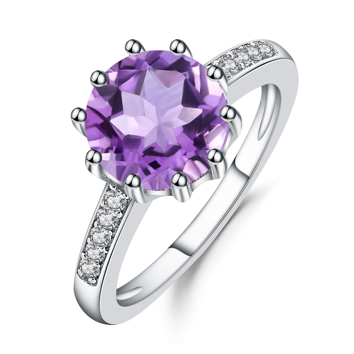 Sterling Silver Purple Amethyst Birthstone Band Ring For Women (2.66Ct Round 99mm size 5 to 10)