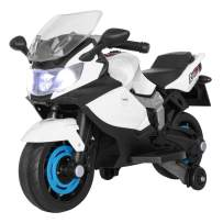TOBBI Kids Ride On Toy Racing Style Motorcycle Electric Tricycle Battery Operated with Light and MP3 White