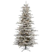 Vickerman Pre-Lit Flocked Slim Sierra Tree with 550 Clear Dura-Lit Lights, 6.5-Feet, Flocked White on Green