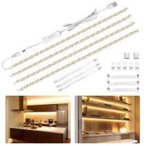 LED Under Cabinet Lighting Kit 6.5ft, USB 1100LM LED Ribbon Strip Lights Bars, Under Counter Lighting for Kitchen, Showcase,Closet, 120 LEDs, 2700K Warm White, 4PCS