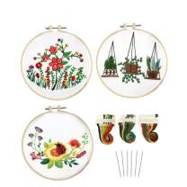 Louise Maelys 3 Pack Beginner Embroidery Kit with Stamped Pattern Cross Stitch Needlepoint Kits Hand Embroidery Starter Kit for Adults