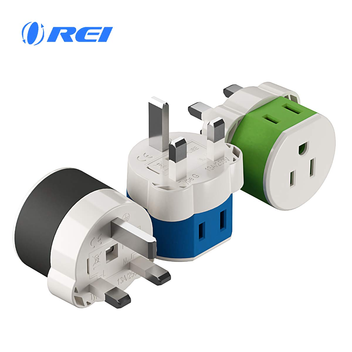 UK, Ireland, Dubai Power Plug Adapter by OREI with 2 USA Inputs - Travel 3 Pack - Type G (US-7) Fuse Protected Safe Grounded Use with Cell Phones, Laptop, Camera Chargers, CPAP, and More