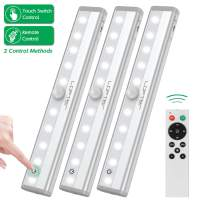 Remote Control Cabinet Light, Dimmable 10-LED Wireless Under Counter Lighting, Battery Operated Closet Light, Stick-on Touch Sensor Night Light, 2 Control Methods (Remote/Touch Control)-(3 Pack)
