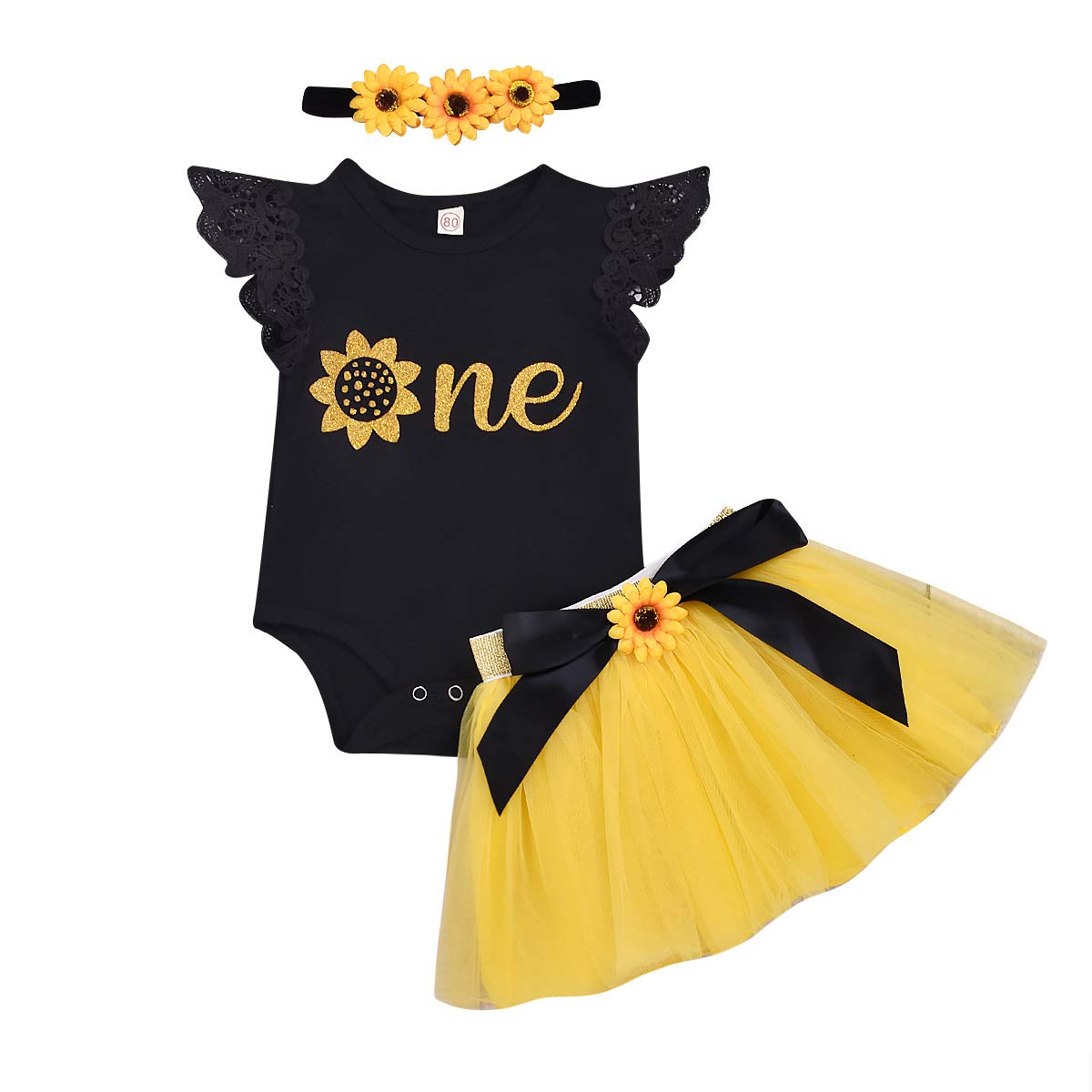 Infant Baby Girl Summer Clothes 1st Birthday Fly Sleeve Sunflower Romper + Tutu Tulle Skirt with Headband Outfit