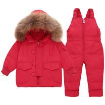 WESIDOM Baby Girls Boys Snowsuit,Infant Toddler Hooded Down Jacket Coat with Ski Bib Pants Outfit Sets