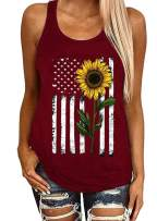 Donbetuy Women's Sleeveless Sunflower Print Tank Tops American Flag Cami T Shirts