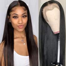 """Lemoda Pre-Plucked Brazilian 360 Lace Frontal Wigs 150% Density Straight Hair Virgin Human Hair Natural Color with Baby Hair (18"""" )inch"""