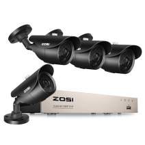ZOSI FULL TRUE 1080P Home Surveillance Camera System, 4 Weatherproof 1080P 2.0MP HD Security Cameras,8 Channel 1080P HD-TVI 4-IN-1 CCTV DVR Recorder, 120ft night vision, NO Hard Drive