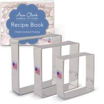 """Ann Clark Cookie Cutters 3-Piece Square Cookie Cutter Set with Recipe Booklet, 2.5"""", 3"""", 3.5"""""""