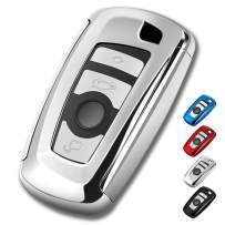 BMW Key Fob Cover, Full Protection Soft TPU Key Fob Case Compatible with BMW 1 3 4 5 6 7 Series and X3 X4 M5 M6 GT3 GT5 Keyless Remote Control Smart Key Fob (Silver)