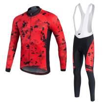 MILOTO Men's Cycling Jersey White Bib Pants Set Long Sleeve Biking Suits