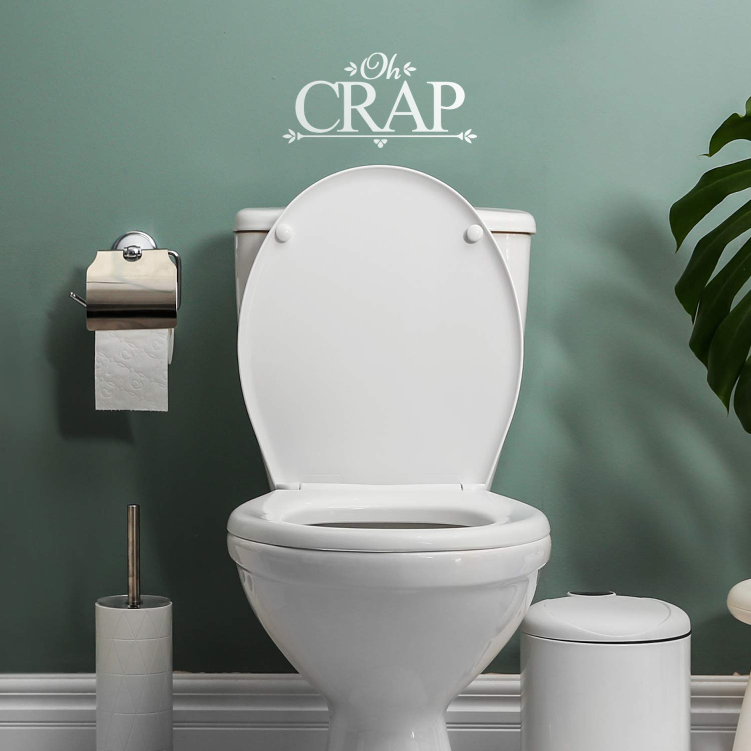 """Vinyl Wall Art Decal - Oh Crap - 6.32"""" x 13"""" - Funny Modern Witty Humorous Toilet Flushing Decoration for Household Home Bathroom Toilet Indoor Dorm Room Apartment Quote (6.32"""" x 13"""", White)"""