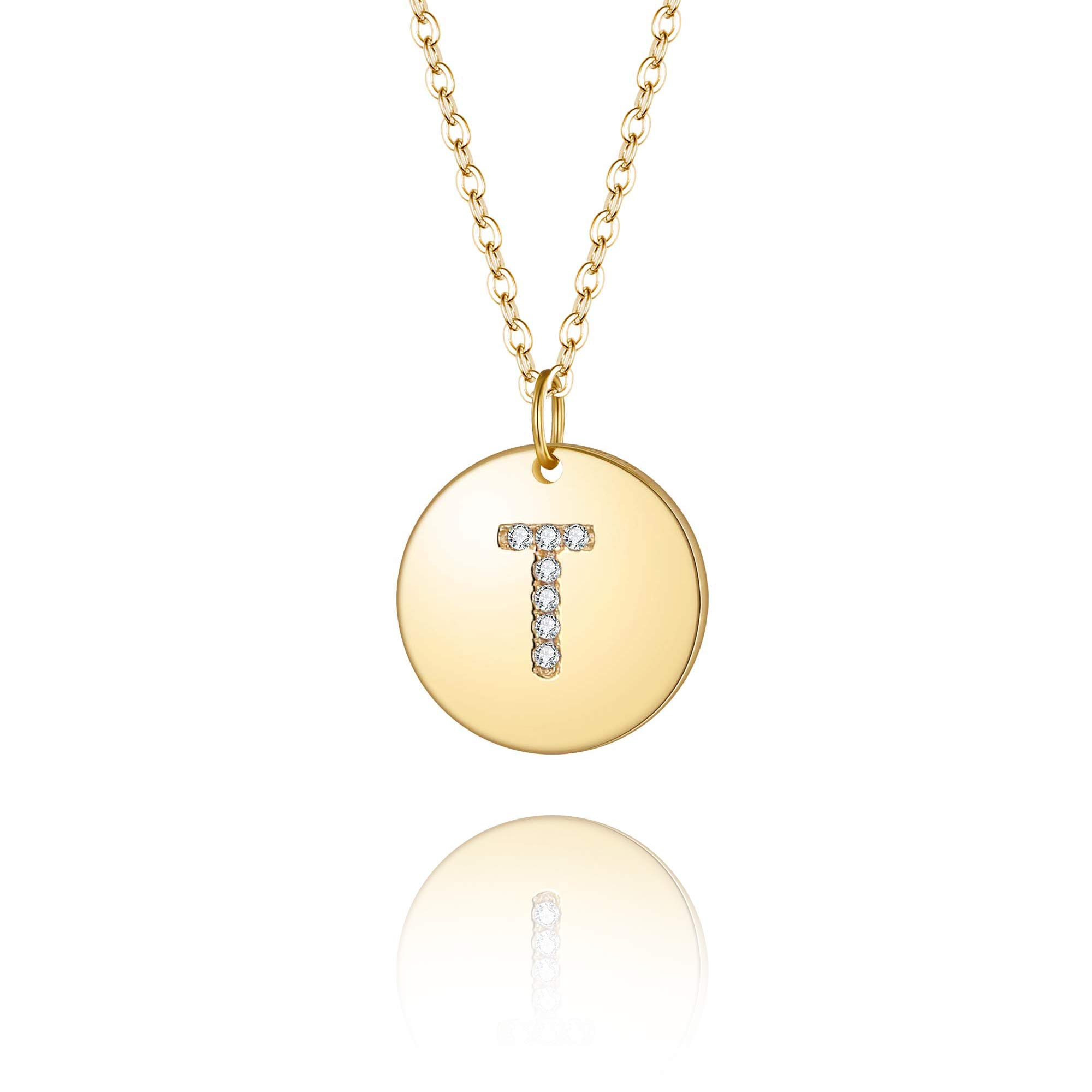 EleQueen 14K Gold Plated Initial Letter T Necklace for Girls | Tiny Disc Alphabet Pendant Necklace for Women