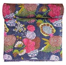 Rugsville Cotton Quilt - Indian Kantha Floral Handmade Throw Blanket Bedspread - Blue - 90x108 Inches