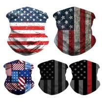 IMEKIS 5PCS American Flag Bandanas Balaclavas Unisex Seamless Face Cover Neck Gaiter Multifunctional Headwrap for Dust Sports