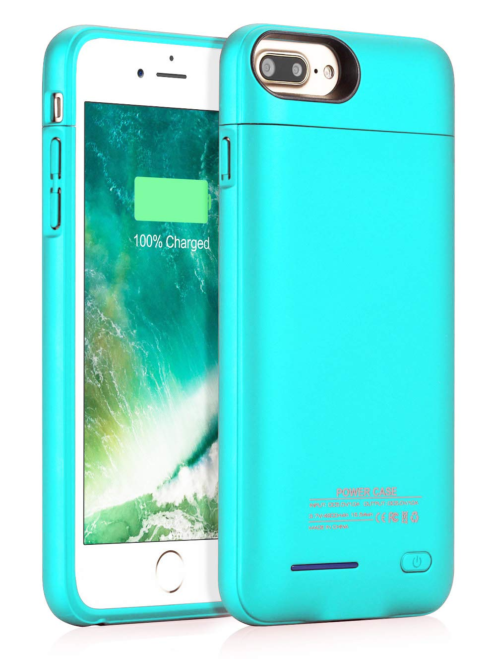 Battery Case for iPhone 8 Plus/7 Plus, JUBOTY 4200mAh Magnetic Slim Charger Case Extend 153% Battery Life Rechargeable Portable Backup Charging Case Compatible with iPhone 8 Plus/7 Plus(Blue)