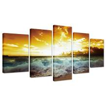 Beach Decor Framed Wall Art - Ocean Painting Sunset Landscape Sea Wave Pictures for Living Room Canvas Print Kitchen Bedroom Modern Home Office Decoration 5 Piece Seascape Artwork Ready to Hang
